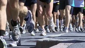 Corredores de maratón almacen de video
