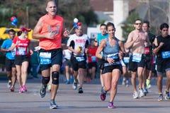 Corredores 2015 de maratón de Houston Foto de archivo