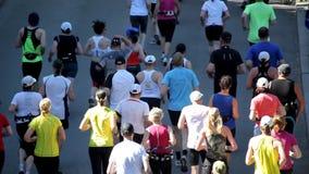 Corredores de maratona video estoque