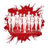 Corredores de maratona, corredor do grupo de pessoas, homens e mulheres correndo junto ilustração do vetor