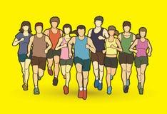 Corredores de maratona, corredor do grupo de pessoas, homens e mulheres correndo junto ilustração royalty free