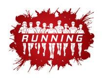 Corredores de maratona, corredor do grupo de pessoas, homens e mulheres correndo com corredor do texto ilustração stock