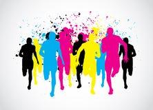 Corredores de maratona de CMYK Imagens de Stock Royalty Free