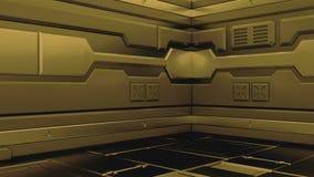 Corredores de rendição interiores da nave espacial da ficção científica da ficção do fundo da ciência, rendição 3D ilustração royalty free