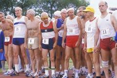 Corredores en las Olimpiadas mayores Imagen de archivo libre de regalías
