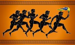 corredores Negro-figurados con la antorcha en los colores de la bandera brasileña Ejemplo en el estilo del griego clásico Imágenes de archivo libres de regalías