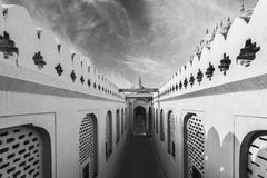 Corredores preto e branco de Hawa Mahal Palace & de x28; Palácio de Winds& x29; Imagem de Stock Royalty Free