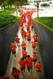 Corredores que competem em partes superiores vermelhas Fotografia de Stock Royalty Free