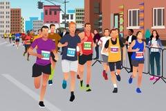 Corredores que correm em uma competição da maratona Fotografia de Stock Royalty Free