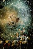 Correfoc en la celebración de de Foc del liendre en Sitges Foto de archivo libre de regalías