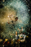 Correfoc in the Nit de Foc celebration in Sitges Royalty Free Stock Photo
