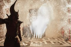 Correfoc party on the anniversary of the Spanish Constitution royalty free stock images
