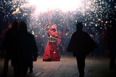 Correfoc party in catalonia stock photo