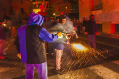 Correfoc performance in El Vendrell Stock Photo