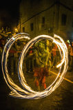 Correfoc performance in Vilafranca del Penedes Royalty Free Stock Photography