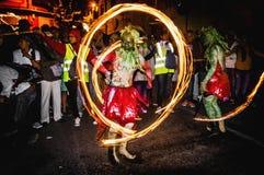 Correfoc performance in Vilafranca del Penedes Royalty Free Stock Photo