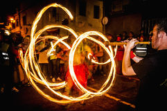 Correfoc performance in Vilafranca del Penedes Royalty Free Stock Images