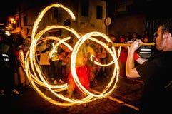 Correfoc występ w Vilafranca Del Penedes Obrazy Royalty Free