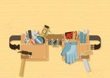 Correia da ferramenta no fundo de madeira ilustração royalty free