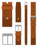 Correia de couro de Brown com a curvatura isolada no fundo branco Elemento do projeto da roupa Calças da correia no estilo liso ilustração do vetor