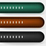 Correia de couro em um relógio de pulso Couro preto, marrom e verde foto de stock royalty free