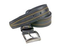 Correia desmoronada das calças, preto costurada com linha amarela imagens de stock
