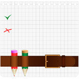 Correia e lápis Imagem de Stock Royalty Free