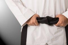 Correia preta das artes marciais fotografia de stock