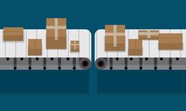 Correia transportadora automatizada na ilustração do vetor da fábrica Fotografia de Stock