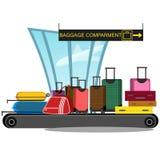 A correia transportadora do aeroporto com bagagem do passageiro ensaca a ilustração do vetor transporte da bagagem e da mala de v Imagem de Stock