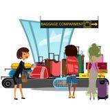 A correia transportadora do aeroporto com passageiros toma a ilustração do vetor dos sacos da bagagem Homem e mulher que tomam a  Fotos de Stock
