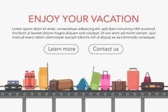 Correia transportadora no salão de bagagem do aeroporto Ilustração do vetor da reivindicação de bagagem ilustração royalty free