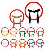 Correias das artes marciais ilustração stock