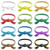 Correias das artes marciais em várias cores Imagem de Stock Royalty Free