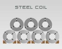 Correias de aço roladas da bobina, indústria no armazém da fábrica, vetor conservado em estoque da placa da folha de metal da mat ilustração do vetor