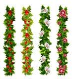 Correias decorativas do Natal feitas do azevinho e das flores ilustração do vetor