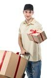 Correio, caixas de presente de um carrinho de mão Fotografia de Stock Royalty Free