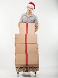 Correio, caixas de presente de um carrinho de mão Fotos de Stock Royalty Free