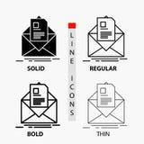correio, contrato, letra, e-mail, informando o ícone na linha e no estilo finos, regulares, corajosos do Glyph Ilustra??o do veto ilustração royalty free