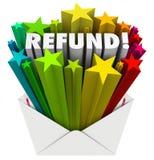 Correio da declaração de rendimentos do dinheiro do envelope da palavra do reembolso Fotos de Stock