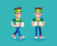 Correio da pizza Caráteres do vetor no projeto liso Imagens de Stock