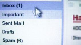 Correio de Inbox, lendo email video estoque