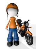 Correio Delivery do caráter do homem com Moto Fotos de Stock Royalty Free