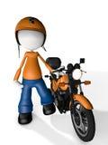 Correio Delivery do caráter do homem com Moto Foto de Stock Royalty Free