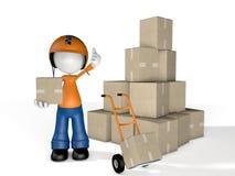 Correio Delivery do caráter do homem com os caminhões da caixa e de pálete Foto de Stock Royalty Free