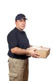 Correio que entrega um pacote Fotos de Stock