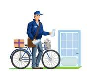 Correio Service Empregado postal da entrega, com letras, correspondência, bens ilustração do vetor