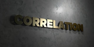Correlation - Gold text on black background - 3D rendered royalty free stock picture Stock Photography
