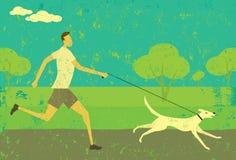 Correndo con il vostro cane Fotografie Stock Libere da Diritti
