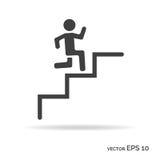 Correndo giù le scale equipaggia il colore del nero dell'icona del profilo Fotografia Stock
